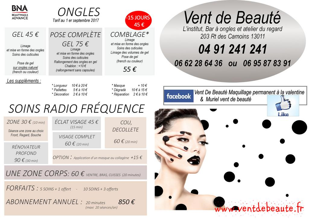 TARIF ONGLES ET RADIOFREQUENCE